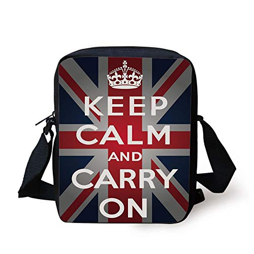 Union Jack,Keep Calm and Cary On Quote Crown Figure United Kingdom Britain Flag Decorative,Navy Blue Red White Print Kids Crossbody Messenger Bag Purse - First Navy Jack