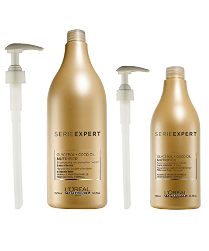 L'Oreal Serie Expert Nutrifier Shampoo 1500ml and Conditioner 750ml with Pumps