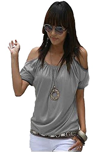 Mississhop Japan Style Damen Top T - Shirt Bluse Longshirt Tunika Tanktop Oberteil NATA Grau XL