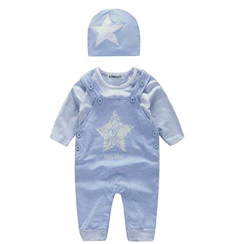 Bebone Recien Nacido Bebé Niños Niñas 3piezas Conjuntos Camiseta Manga Larga Pantalón Babero y Gorro(9-12M)