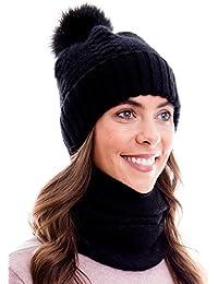 100% ANGORA-WOLLE Warmer Winterset aus Schal, passender Strickmütze und Beanie mit Pompon
