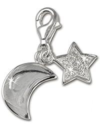 Plata de ley 925 SilberDream Charm luna + estrellas colgante para pulsera cadena pendientes FC228W