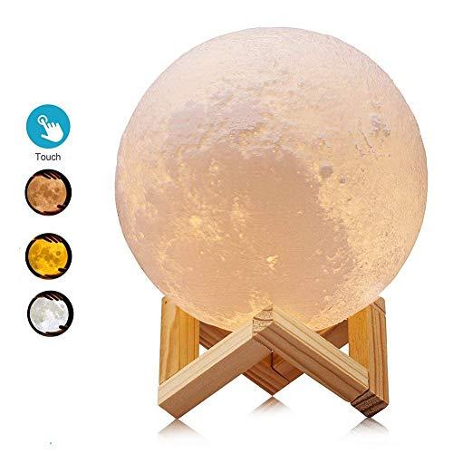 D & O Mond Lampe 3D Nachtlicht LED Fernbedienung Farbige Dekoleuchte Mondlicht Mit Touchschalter Dimmbar 3 Farben Für Weihnachten Geburtstagsgeschenk