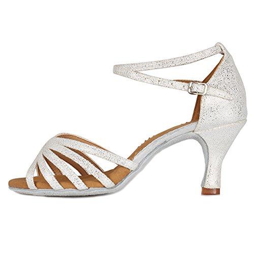 SWDZM Damen Ausgestelltes Tanzschuhe/Standard Latin Dance Schuhe Satin Ballsaal ModellD1810 Weiß 36EU/22.5CM