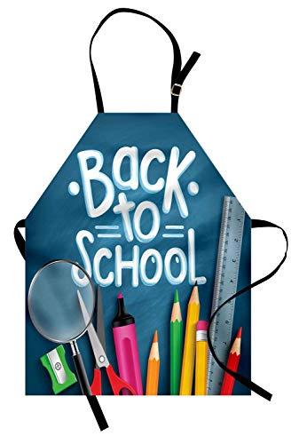 Zurück in die Schule Schürze, Funky Texting Fett Striche mit Buntstiften Anspitzer Liefert Schreiben, Unisex-Küchenschürze mit verstellbarem Hals zum Kochen Backen Gartenarbeit, ()