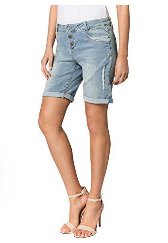 Fresh Made Boyfriend Jeans I Jeans-Shorts Used Look für Damen - Top Qualität dank hohem Baumwollanteil light-blue L (Damen Kurze Jeans-shorts)