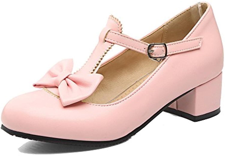 AgooLar Mujeres con Hebilla Puntera Redonda Mini Tacón Zapatos de Tacón