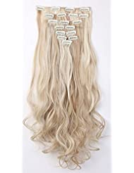 S-noilite® 60cm Full Clip tete dans les extensions de cheveux boucles Wavy 8 Pcs 18 clips blonde de sable & blond de blanchiment