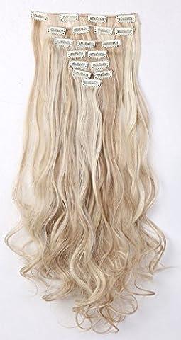 S-noilite® 60cm Full Clip tete dans les extensions de cheveux boucles Wavy 8 Pcs 18 clips blonde de sable & blond de blanchiment