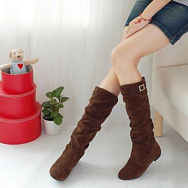 Stivaletti Donna Pile Fall Winter Heel Flat Nero Giallo Marrone Scuro Flat Dark Brown