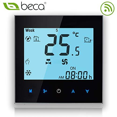 Beca 1000 Series Thermostat Zwei Röhren für Klimaanlage Fan Coil der weißen Hintergrundbeleuchtung mit Wifi-Verbindung für Unterstützung Intelligent Voice (Zwei Röhren, Schwarz(WIFI))