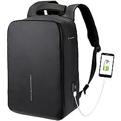 Fresion Sac à Dos USB pour Ordinateur Portable Sac à Dos résistant à l'eau avec Port de Charge USB pour 15,6 Pouces Ordinateur pour Femmes et Hommes(Noir)
