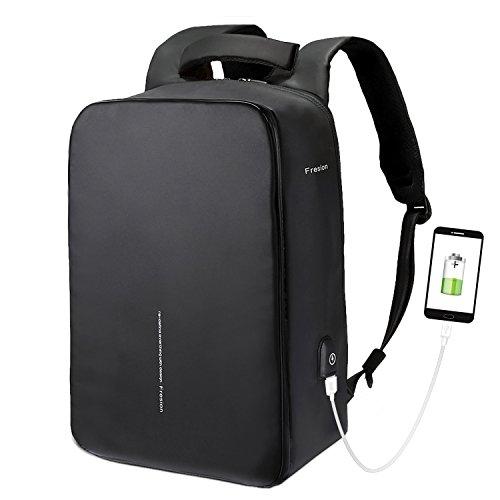 Notebook-Rucksäcke, Fresion Laptop Rucksack 45 x 32 x 16 cm für Arbeit, Herren und Damen | Wasserdichter Reißverschluss+2.0 USB Port | Maximale Belastung 25KG bis zu 15,6 Zoll Laptops Schwarz
