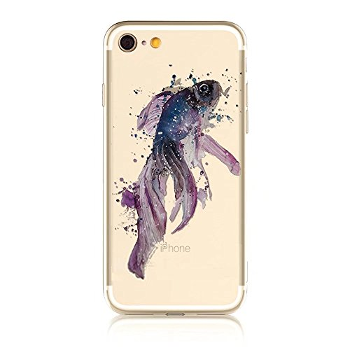 iPhone 6S Hülle, MOMDAD Transparent Malerei [Cartooon Fisch Fish Serie] Handyhülle für iPhone 6S 6 Handytasche Ultra Thin Crystal TPU Silikon Pattern Muster Weich Rückseite Case Cover mit Anti-Kratzer Color 9