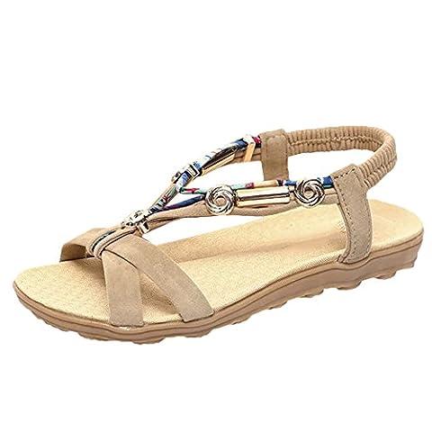 Scothen Chaussures Femmes Sandales bride cheville romaine Tressé T-Bracelet Gladiator Flats Thong Sandal Chaussures d'été plage pantoufles flip flops sandales femmes orteil clip chaussures plage