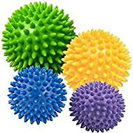 4x Spiky Massage Balls 10cm, 8cm x 2 , 6cms -fine-toned® plus FREE EXERCISE INSTRUCTION CHART - Trigger point therapy, Environmental Friendly plastic, PAH and Phthalates Free