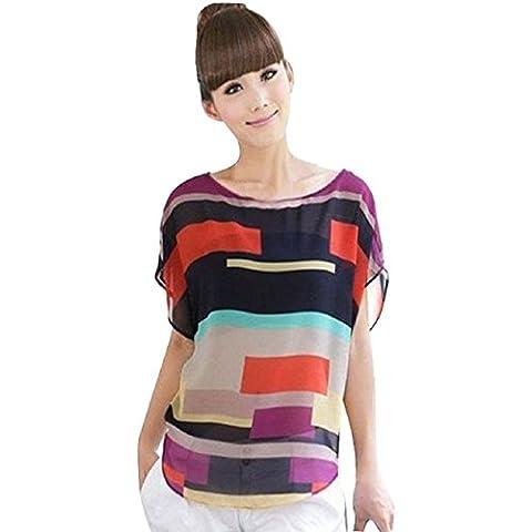 Malloom® sexy mujer verano perspectiva fresco casual suelto gasa Tops Blusas Camiseta (5)