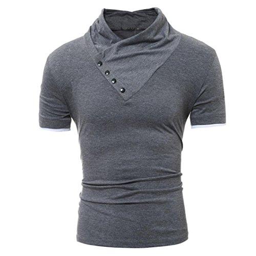 ❤️ Men T-Shirt, Xinantime Clearance Sale Fashion Summer Solid Short Sleeve T Shirt Slim Top Blouse (L, Dark Gray)