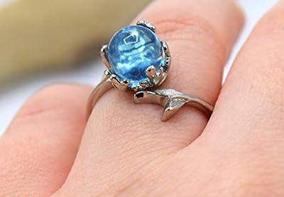 ETHNIC FEATHER - Bague argenté ajustable (taille unique), queue de sirène, perle de verre couleur bleu océan