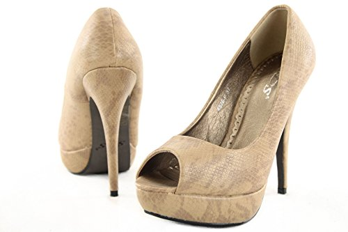 High Heels Pumps Damenschuhe Stiletto Plateau Schuhe Schlangenleder Optik Z4826-P Khaki