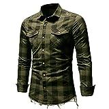Chevalier Chemise Homme à Carreaux Manche Longue Coton Casual Slim Fit Col Italien Taille Chemises Top Blouse M-XXXL