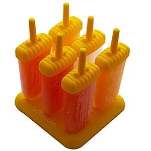 WhitePavo 6 Pcs Yellow Polypropylene Ice Popsicle Mold, Kulfi Maker/Stick & Cream & Candy Mould