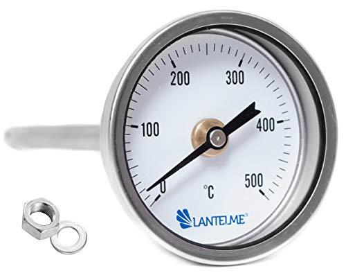 Lantelme 500 °C Grad Thermometer zum Einbau Backofen Holzbackofen Ofen Grill Analog Bimetall Sonde 15 cm Lang 3946