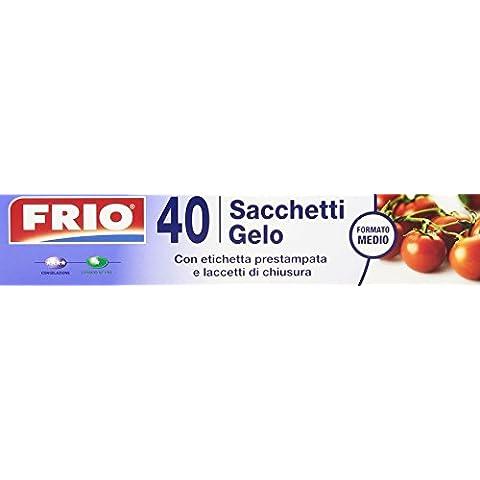 Frio–Bolsas heladas, con etiqueta prestampata y cordones de cierre, tamaño mediano, 40bolsas