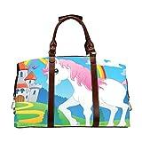 Mädchen-Reisetasche Fairy Tale Unicorn Theme Image 2 Vector Illustra Classic Übergroßes wasserdichtes Pu-Leder Reisetaschen zum Mitnehmen Sporttasche