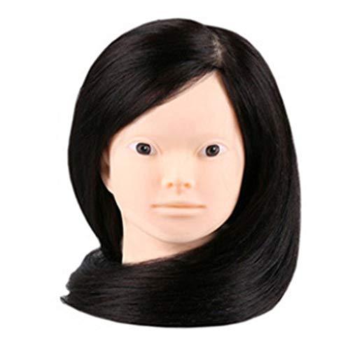 Übungskopf 16-Zoll 75% reales Menschenhaar Cosmetology Frisurschaufensterpuppe Puppe mit Make-up-Funktion für College und Berufspersonal, um das Schneiden von Flechten Einstellung + Klammer zu üben,B -