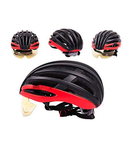 WNLBLB Ultraleichter Fahrradhelm mit integrierter Brille Abnehmbarer Schutzhelm für Mountainbike-Straßenbrillen