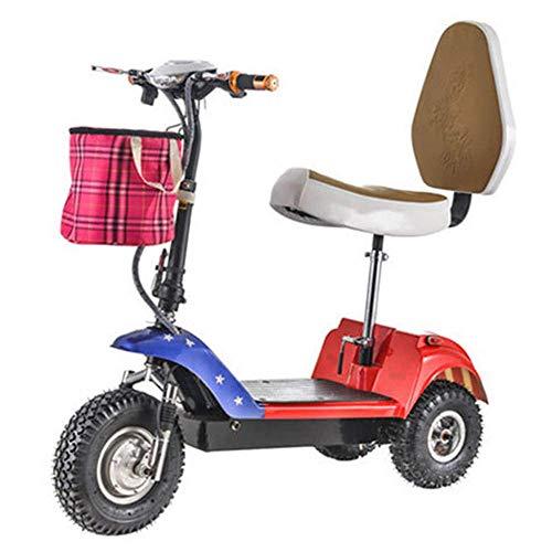 BOHENG Elektrofahrräder, Zusammenklappbares Dreirädriges Elektrofahrzeug, Mini-Elektrofahrrad Für Erwachsene, 48-V-Lithium-Batterie-Steuerfahrrad (Kann 113 Kg Standhalten),C