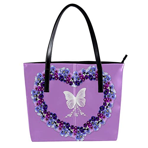 Women's Bag Shoulder Tote handbag with Heart Pansy And White Butterfly print Zipper Purse PU Leather Top-handle Zip Bags -