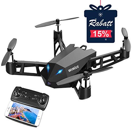 WiMiUS Drohne mit Kamera HD Native 1080P, Mini Drohne für Anfänger WiFi FPV RC Quadrocopter One Key Start-Landung /Höhe-halten / 360°-Flips