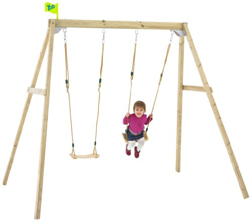 If you need just a swing for your two children, the TP Toys Wooden Swing Frame (Forest Double) will suffice. The adjustable seats are the major selling point as they will remain relevant for years. We still feel this swing set is a bit limiting in terms of the available features and the age limit of 10. Those looking for a cheap and quick swing set for a troubling child can use this one. Otherwise, double your quid for more features offered by the Plum Gibbon Wooden Garden Double Swing, Climbing Rope & Ladder Set.