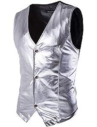 Gilet da Uomo Metallic Performance Shining for Show Slimming V Classiche  Neck con Bottoni Patchwork Slim 1c716921230