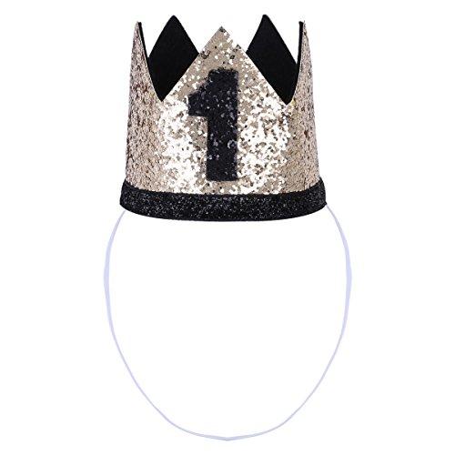 Tiaobug 1. Geburtstag Party Kronen mit Zahlen Baby Junge Mädchen 1 jahr Party Kopfschmuck Hut Prinzessin Prinz Kronen Dekoration Zubehör Accessoires für Fotoshooting Gold&Schwarz 1 One Size