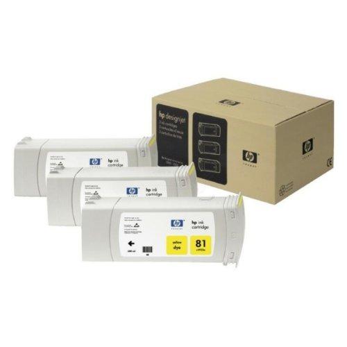 81 Gelbe Patrone (Original HP C5069A / 81, 3x Premium Drucker-Patrone, Gelb, 3 x 680 ml)