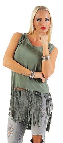 Mr. Shine® – Damen Stretch T-Shirt mit Löcher, Destroyed Look Vokuhila Rundhalsausschnitt Ärmelloses Top Größe S, M, L, XL, XXL, XXXL (S, Armee)