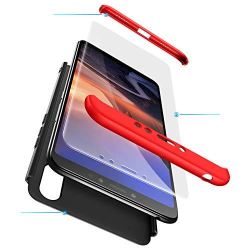 Funda XiaoMi Mi Max 3 Carcasa XiaoMi Mi Max 3 con[Protector de Pantalla de Vidrio Templado]3 en 1 Desmontable Anti-Arañazos XiaoMi Mi Max 3 Funda Protectora-360 °complete package protection-Negro Rojo