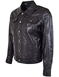 96e5fea14d70c Homme Camionneur Veste De Cuir Millésime Noir Américain Occidental Denim  Style Manteau - Bond
