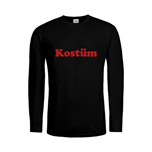 dress-puntos Herren Langarm T-Shirt Kostüm 20drpt15-mtls00385-18 Textil Black/Motiv -