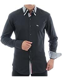 47810a0c57b0 Slim Fit Hemd in Schwarz, für Herren BESTE QUALITÄT, HK Mandel Langarm  Freizeithemd,