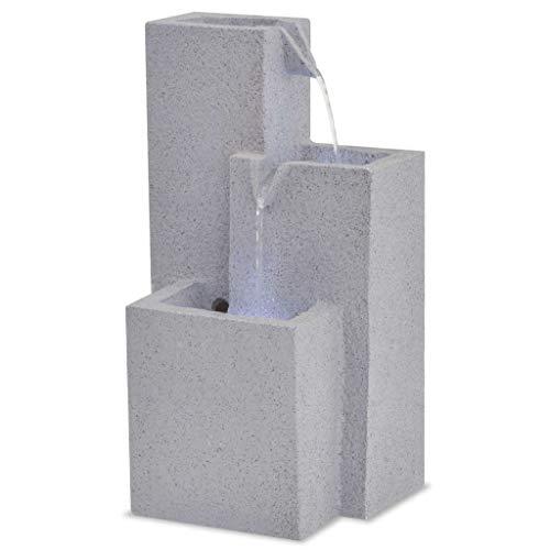 Tidyard Zimmerbrunnen Tischbrunnen Zierbrunnen Dekobrunnen mit LED-Licht Polyresin Dekoration 22,5 x 18 x 40,6 cm