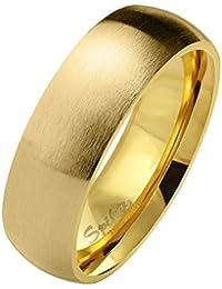 Anillo de acero inoxidable mate pulido Paula & Fritz® de 6 mm de ancho – alianzas de mujer y de hombre, anillos de la amistad disponibles en azul, negro, oro rosa y plata. Tamaños: 47 (15)- 69 (22)