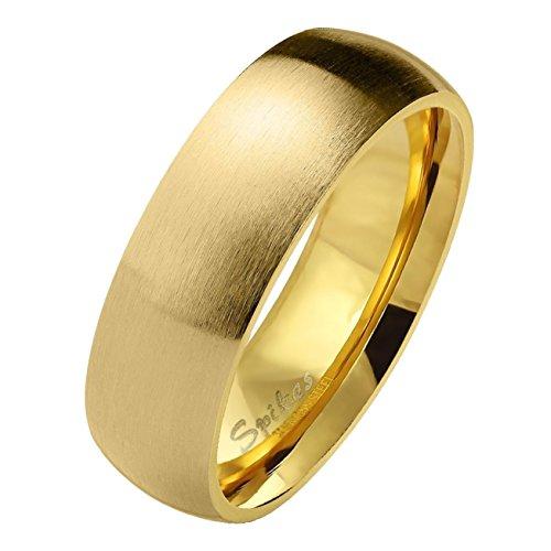 Paula & Fritz matt poliert 6mm breit Edelstahlring Damen-ring Verlobungs-ring Freundschaftsring Herrenring Partnerring Dome gold 60 (19)