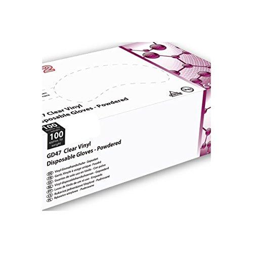 Guanti in vinile trasparente Shield2–Cartone Di 10scatole di 100–poudré–gd47_ 10