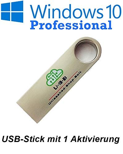 U-S-B Unleashed-Shop-Bolt Microsoft® Windows 10 Pro Professional USB Stick bootfähig 32 Bit / 64 Bit - Vollversion - Lizenz Key - Original Lizenzschlüssel - 1 Aktivierung / 1 PC - DEUTSCH + Anleitung