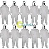 dapetz® 10Einweg Papier Anzug Schutzhülle Overall nötigen groß 128cm 127cm