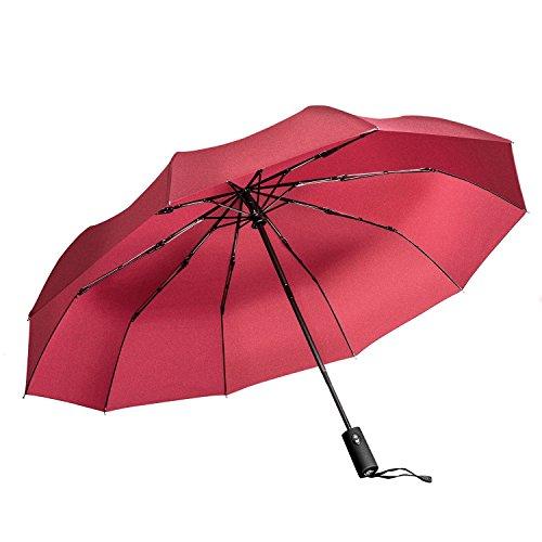 chirm, Wanshine windsicher bis 140 km/h, wasserabweisende Teflon-Beschichtung, klein, leicht & kompakt - stabiler Schirm mit voll-automatischer Auf-Zu-Automatik, 101cm (Rot) (Mann In Den Großen Gelben Hut)